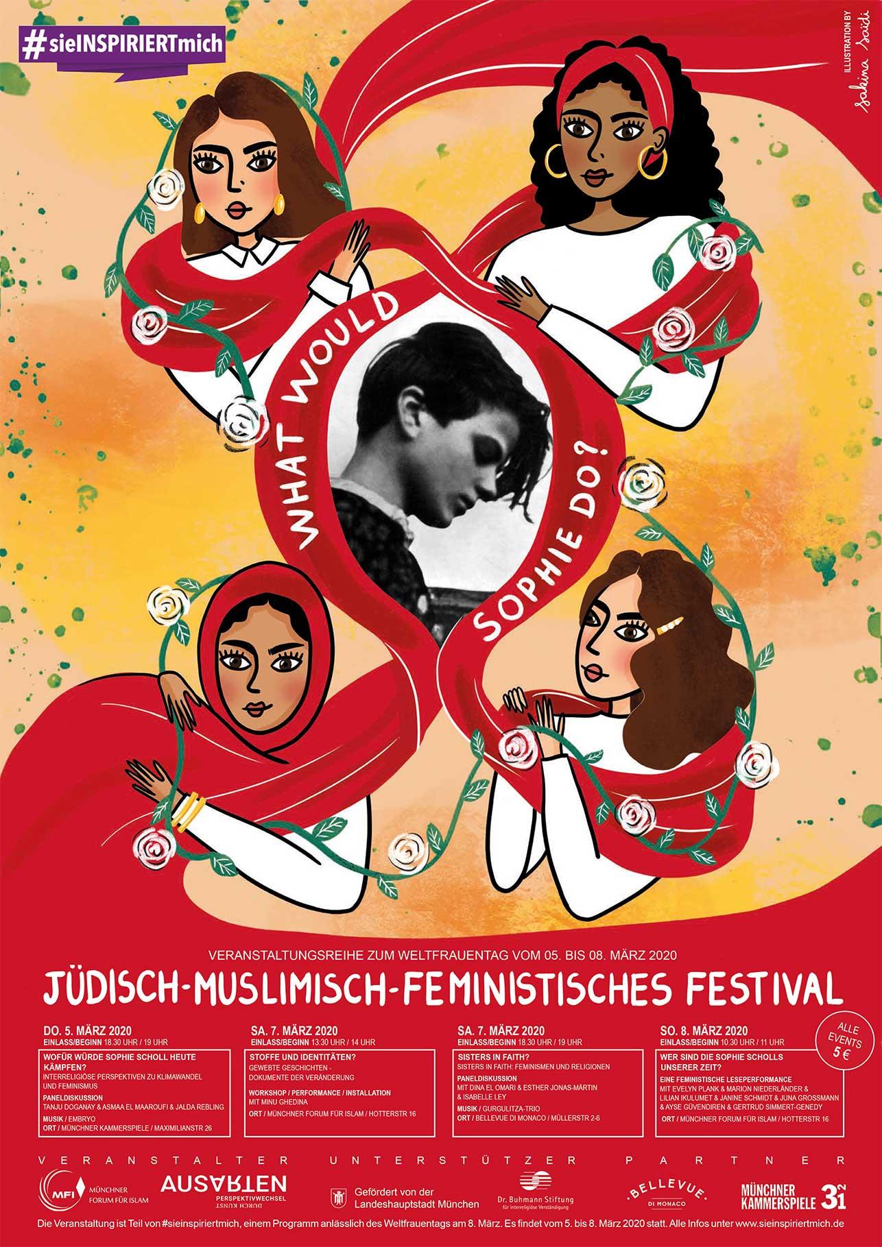 MFI Flyer: jüdisch-muslimisch-feministisches Festival 2020