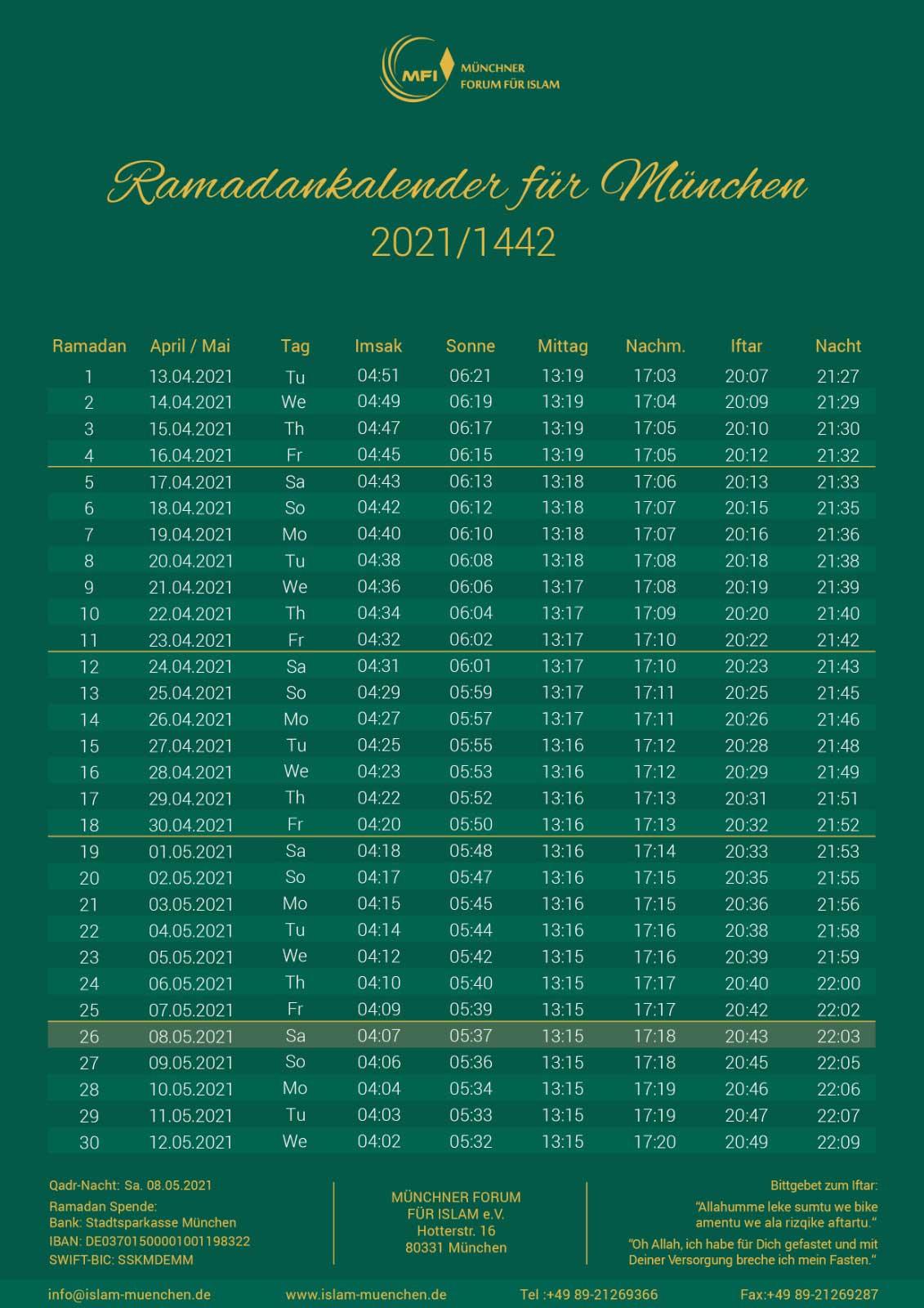 Ramadankalender 2021 für München