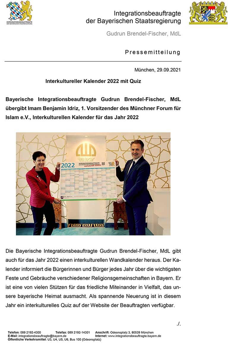 Präsentation Interkultureller Kalender für 2022
